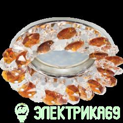 Ecola CD4141 MR16 GU5.3 св-к встр.круглый с хрусталиками Прозрачный и Янтарь/Хром 50x90 FO1617EFY