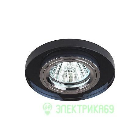 ЭРА DK7 CH/BK св-к встр. 50W MR16 GU5.3 стекло круглое d95 черный/хром