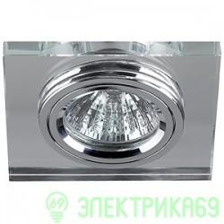 ЭРА DK8 CH/WH св-к встр. 50W MR16 GU5.3 стекло квадрат d90 зеркальн./хром