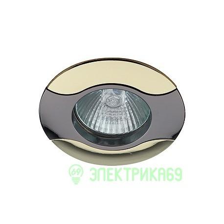 """ЭРА KL18 GU/G св-к встр. 50W MR16 GU5.3 """"волна"""" d80, черный металл/золото"""