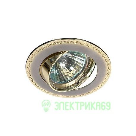 """ЭРА KL23А SN/G св-к встр. поворот. 50W MR16 GU5.3 """"контур с рисунком"""" d84, сатин никель/золото"""