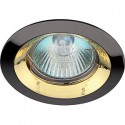 """ЭРА KL29А GU/G св-к встр. поворот. 50W MR16 GU5.3 """"тарелка"""" d95, черный металл/золото"""
