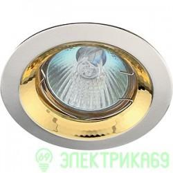 """ЭРА KL29А SS/G св-к встр. поворот. 50W MR16 GU5.3 """"тарелка"""" d95, сатин серебро/золото"""