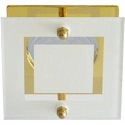 Ecola DL200 MR16 GU5.3 св-к квадрат со стеклом Прозр. Матовый/Золото 45x77 FG16ASECB
