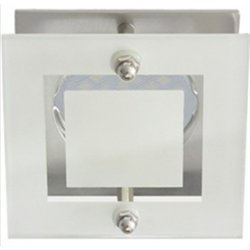 Ecola DL200 MR16 GU5.3 св-к квадрат со стеклом Прозр. Матовый/Хром 45x77 FC16ASECB