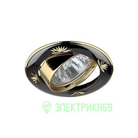ЭРА KL3A GU/G св-к встр. поворот. 50W MR16 GU5.3 круг с гравировкой d80, черный металл/Золото
