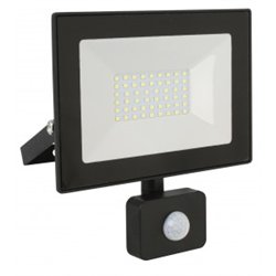 Ultraflash прожектор св/д с датч/движ. LFL-5002S C02 50W(3500lm) 6500K 6K черный 170x135x27