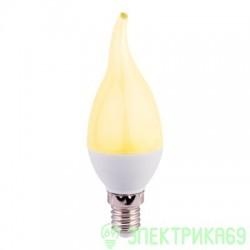 Ecola свеча на ветру E14 7W золотистая 130x37 пласт./алюм. C4YG70ELC