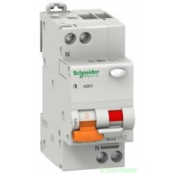 Schneider Domovoy АД63К диф. автомат АВДТ 1P+N 10А 30мА 4,5кА х-ка С АС 12521