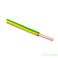 Провод ПВ1/ПуВ 1х10  50м желто-зел (ГОСТ) (Калужский каб з-д)  установ. медн. жесткий изол. ПВХ
