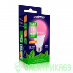 Smartbuy FITO св/д лампа для растений E27 13W фито, красно-синий, 16,5 мкмоль/cSBL-A60-13-fito-E27